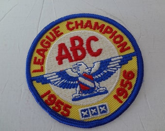 ABC Bowling League Champion Patch 1955-1956 - Sixty One Years Old - Beautiful Colors - Looks New - ready to ship