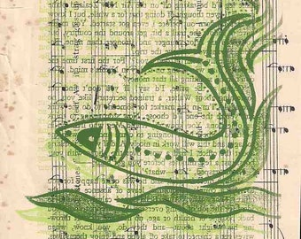 Fish wall art, fishes wall art, fish art, fishes art, green fish print, fish Screen print, sheet music print, found paper print, green print
