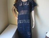 CROCHET MAXI DRESS,  navy  blue crochet ,elegant evening wear, Boho dress