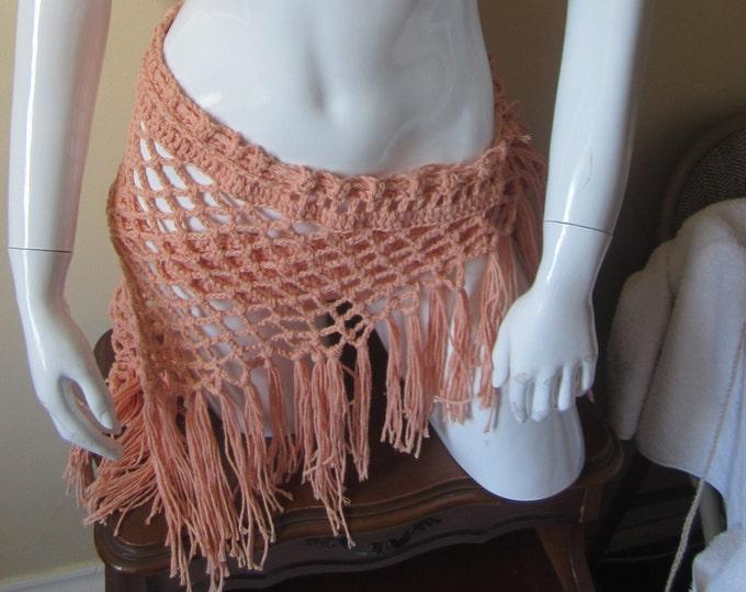 CROCHET SARONG, SCARF, festival clothing, Crochet beach cover up, Boho fringe scarf/sarong Peach sarong, scarf, gypsy, hippie, bohemian boho