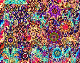 Textile Artist Made Decor Cotton Fabric Large Panel Kaleidoscope Quilting