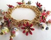 Ceramic Bead Charm Bracelet Bright Gold Metal Flowers