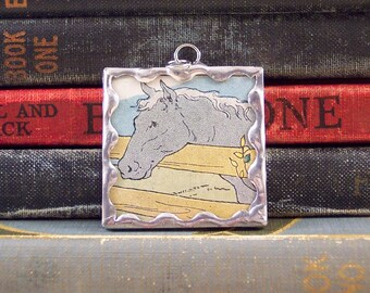 Soldered Glass Horse Pendant w/ Vintage Book Illustration - Horse Lover Jewelry - Equestrian Jewelry - Gray Horse Charm - Horse Back Rider
