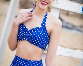 Retro polka dot Pin up bikini Top Only Choose your color