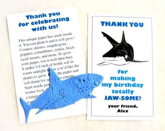 20 Plantable Seed Paper Sharks Birthday Party Favors - Flower Seed Paper Sharks