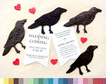 20 Plantable Seed Paper Crows - Game of Thrones Inspired - DIY Save the Date Cards - Unique Wedding Favors Jackdaw - PDF Template Option