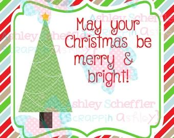 Christmas Tags. Christmas Tree. Merry and Bright. Gift Tag. Printable. Favor Tag. Tag. Square Tag. Printable Tag. Instant Download. PDF File