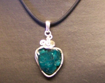 OOAK Lab Grown Chatham Emerald Crystal Sterling Wire Wrap Pendant Sapphireskies Designs