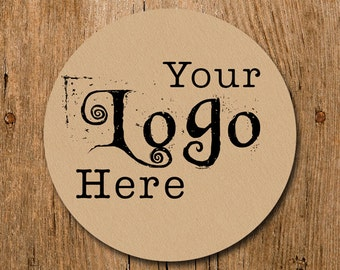Kraft Brown Custom Stickers Labels with Your Logo On Them Glossy White