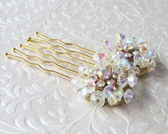 Crystal Hair Comb Rhinestone Hairpiece Vintage Costume Jewelry Headpiece Wedding Bridal Formal Pageant Ballroom Prom Bohemian Chic Bride