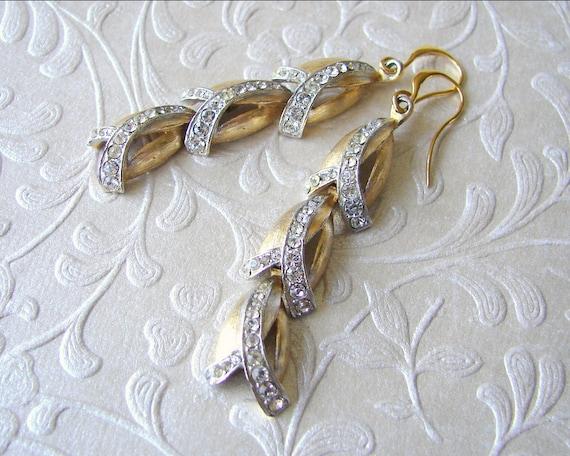 Rhinestone Dangle Earrings 1950's Vintage Costume Jewelry Bridal Formal Golden Wedding Drop Tulip Flower Gold Silver Tone Mixed Metals Metal