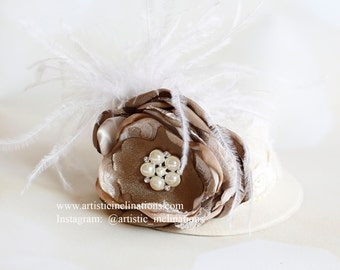 All That Jazz - Vintage Inspired Mini Top Hat, ivory and Bronze Brown with Feathers