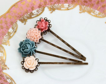 Pink and Blue Bobby Pins - Floral - Bridal Accessory - Hair Pins - Vintage Wedding - Wedding Hair Accessories - Bridal Hair - Gift For Woman