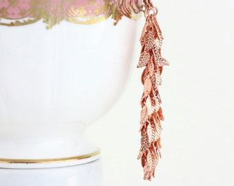 Rose Gold Earrings. Long Dangle Earrings, Copper Leaf Long Earrings, Leverback, Leaves, Long Earrings, Evening Wear, Leaf Vine Earrings