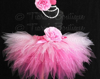 Pink Birthday Tutu, Halloween Fairy Tutu, Pinkalicious, Sewn 3 Tiered Pink Ombre Pixie Tutu, Photo Prop Tutu for Babies Girls Tweens