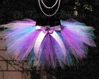 Blue Purple Tutu, Birthday Tutu Skirt for Girls, Babies, Toddlers, Tweens, Wildflower, Custom Sewn Tutu and Headband Set