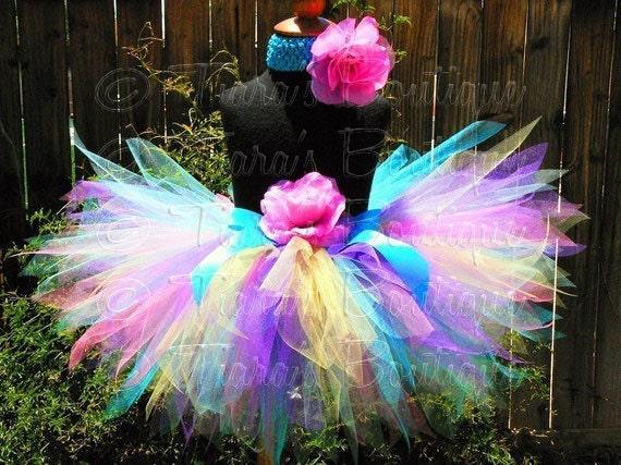 Girls Tutu - Baby Tutu - Birthday Tutu - Polka Dot Cutie - Custom Sewn Rainbow Birthday Pixie Tutu - Photo Prop Tutu
