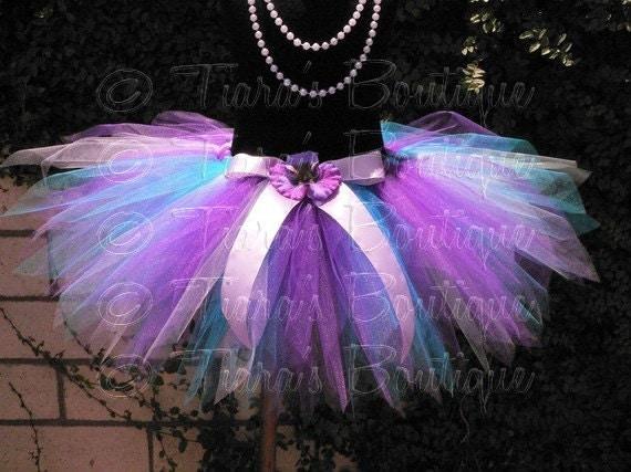 Blue Purple Tutu, Birthday Tutu Skirt for Girls, Babies, Toddlers, Tweens, Wildflower, Custom Sewn Tutu and Headband Set
