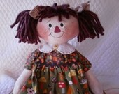 Primitive Cute Raggedy Ann type doll in mushrooms fabrics by yellowsweetpotato