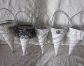Paper cones, tussie mussies, weddings, bridal shower favors, vintage sheet music cones, buy all 5 or individually, flower girl