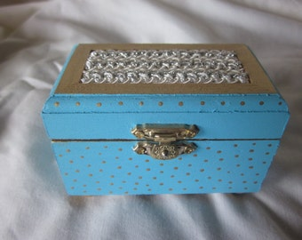 blue box, jeweley box, container, blue, gold, trinket box, one of a kind, treasure, wooden box