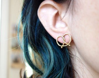 Soft Pretzel Earrings- 18k Gold Plated with Sterling Posts