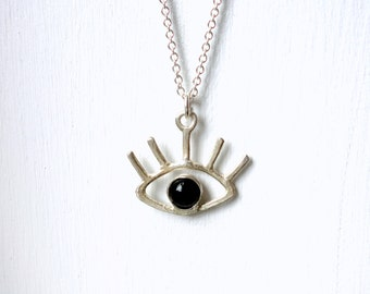 Black and White Eye Pendant- Sterling Silver and Black Onyx