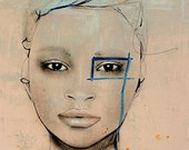 Lune - Fashion Illustration Art Print, Portrait, Woman, Mix Media Painting by Leigh Viner