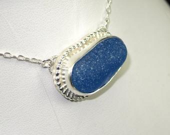 Sea Glass Pendant Deep Aqua Blue Turquoise Sea Glass Pendant English Sea Glass - N-352