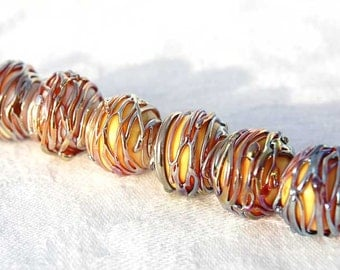 6 Silver Glass Thread Spheres , handmade glass beads,  metallic lampwork beads by Beadfairy Lampwork, SRA