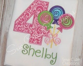 Personalized Lollipop Trio Candy Candyland Custom Birthday Shirt Girls  Monogram short long sleeve custom embroidered sew cute creations