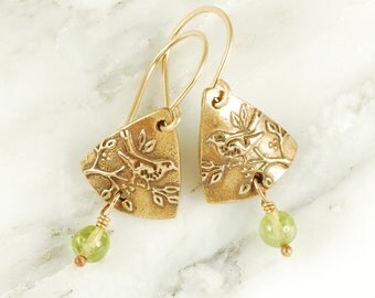 Wren Earrings - Bronze Bird Earrings with Peridots and Gold Fill Wires