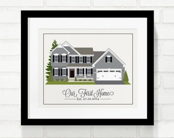 Personalized Home Illustration, Your Custom Home Portrait, New Home Gift, First Home, Childhood, Real Estate Closing Gift - 8x10 Art Print