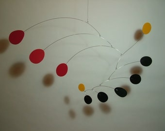 Modern Art Mobile Steel and Petals M Hanging Sculpture