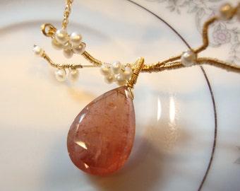 Apricot Orange Tourmaline Necklace