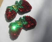Sequinned Strawberries, handstitched old fashioned ornaments