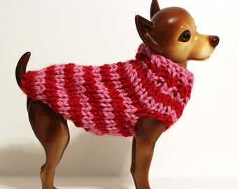 Striped Dog Sweater - Red & Pink