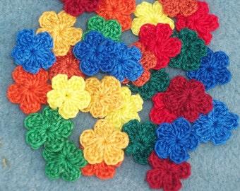 30 handmade cotton thread crochet applique flowers -- 376