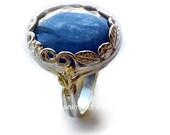 Silver engagement ring for her, silver gold ring, statement ring, kynite gemstone ring, boho ring, princess Crown ring - Spiritual R2106