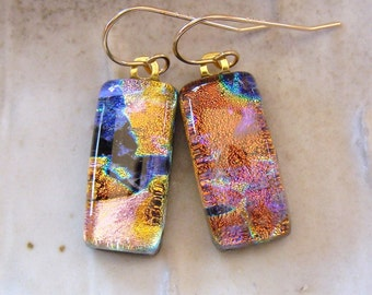 Dichroic Earrings, Glass Earrings, Fused Jewelry, Dangle, Gold Filled, Copper, Gold