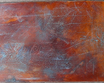 Textured Copper Sheet Metal Curved Lines Patina By
