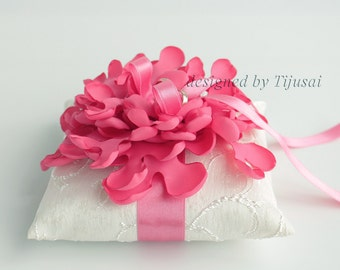 Wedding ring pillow with dark coral curly flower ---wedding rings pillow , rings cushion, wedding pillow
