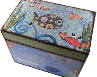 Recipe Box, Decoupaged, Handcrafted Decoupaged Box, Fish, Crab, Ocean Themed, Kitchen Storage Organization, Boy Tinket Box, MADE TO ORDER
