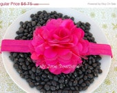 ON SALE Hot Pink Satin and Tulle Puff Flower Elastic Headband