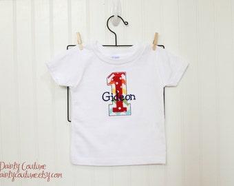 Boy 1st Birthday shirt - Rainbow Chevron - Free personalization