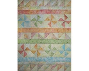 Baby Quilt, Handmade Children's Wall Hanging, Shower Gift, Pastel, Pinwheels