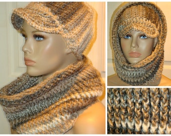 Brown Blend Cap / Hat and Neckwarmer / Cowl / Infinity Set