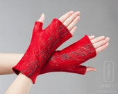 Red Felted Arm Warmers - Silk and softest wool - Fingerless Gloves - Special Occasion