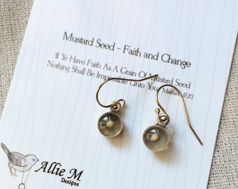 Mustard Seed Earrings / Inspirational Earrings / Faith of A Mustard Seed / Bronze and Gold Filled Earrings / Symbolic Jewelry - by Allie M.