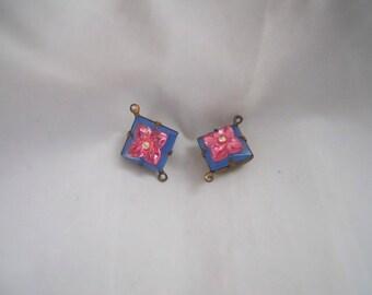 Blue Pink Flower Glass Connectors